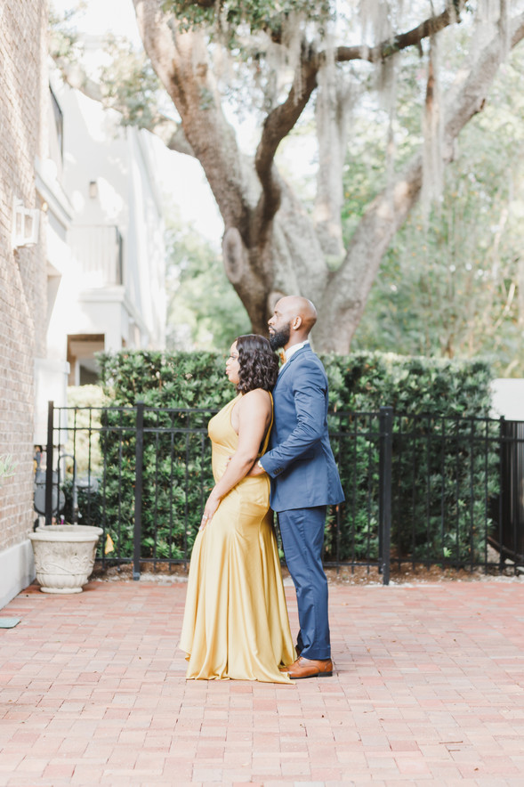 Radiant Navy Blue and Mustard Color Winter Park Engagement Session