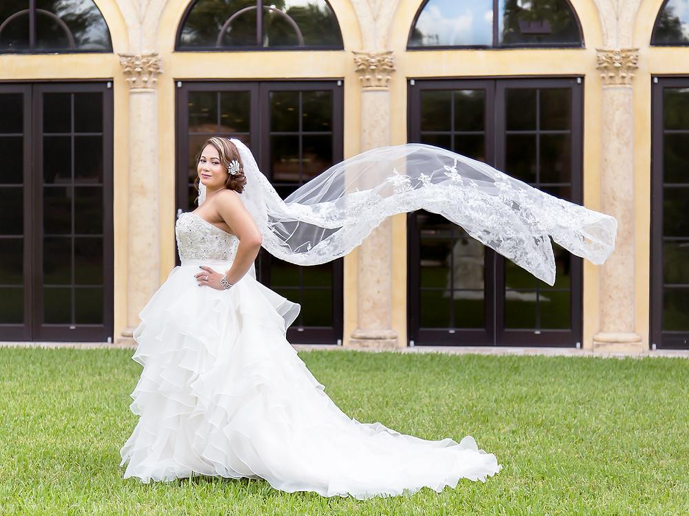 Bridal viel in orlando florida, crystal ballroom veranda.