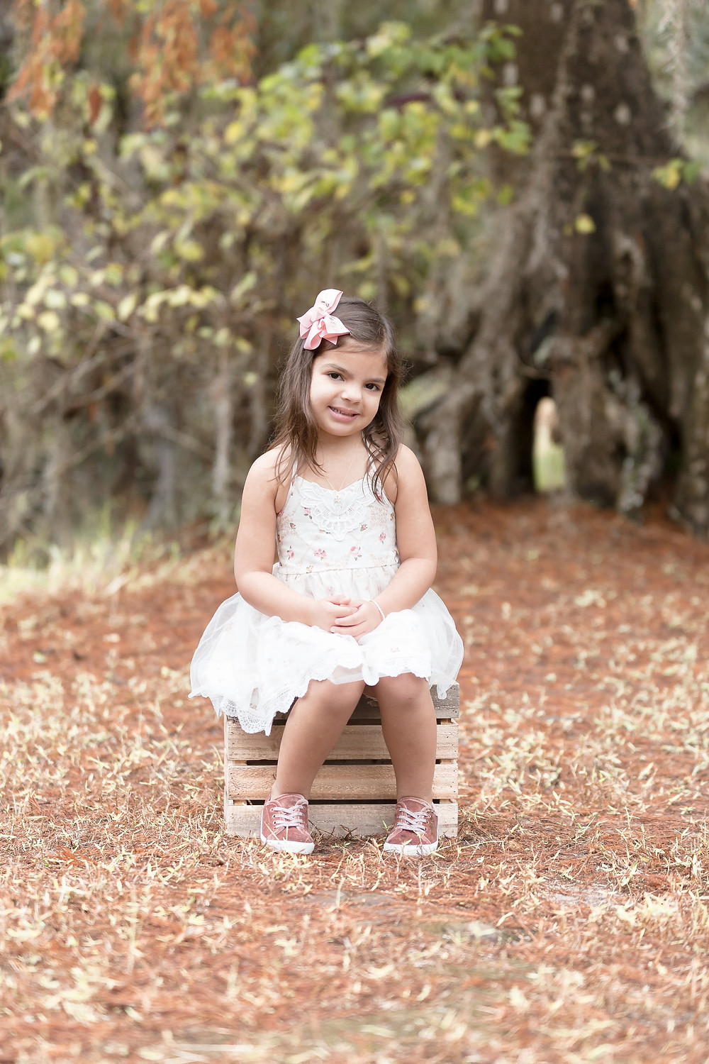 Little girl sitting on box for family mini session