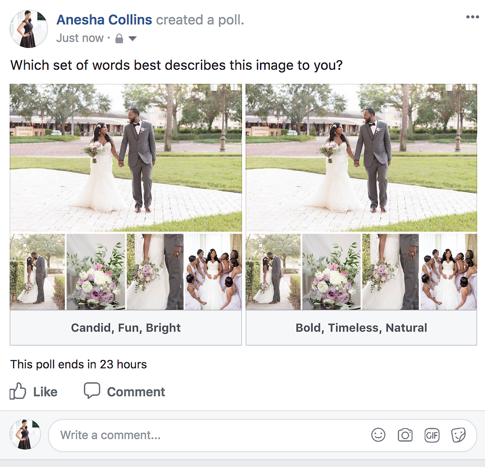 Orlando Wedding Photographer | Unashamed Imaging | Facebook Polls on Personal Pages
