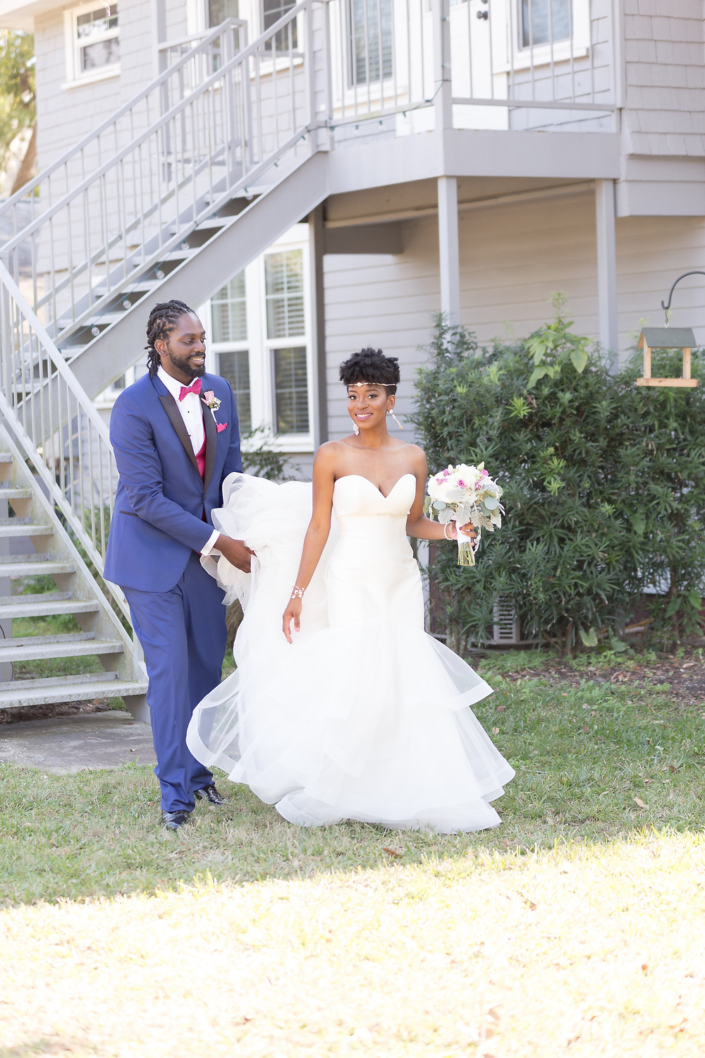 Bride in a skirt-tiered dress