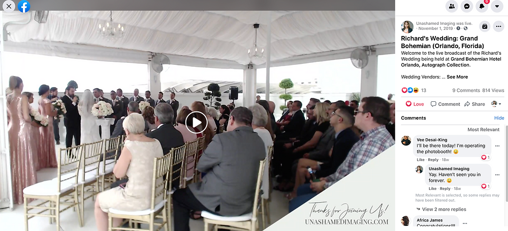 How can I livestream my wedding for family that can't attend anymore?