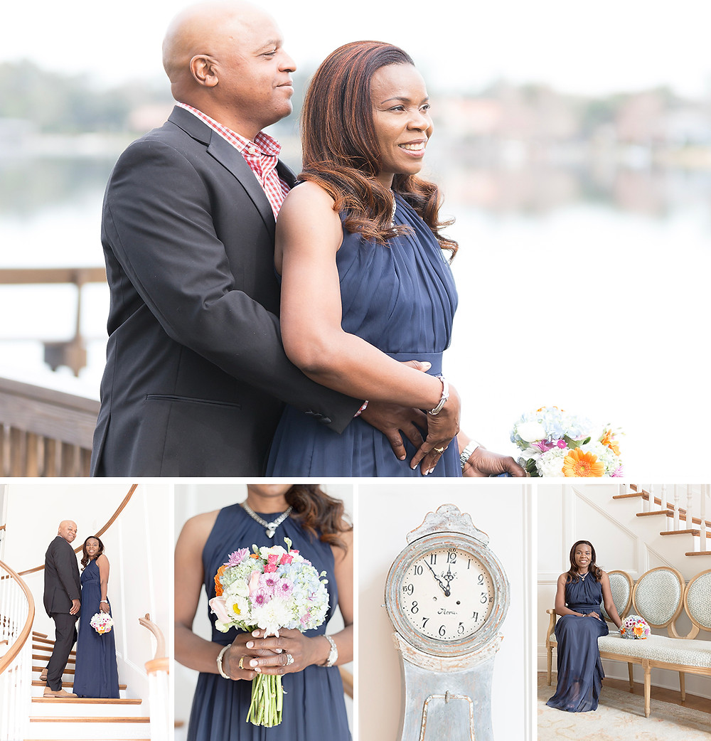 Windermere Florida Mansion Elopement: Melonie + Edward. Bride in blue.