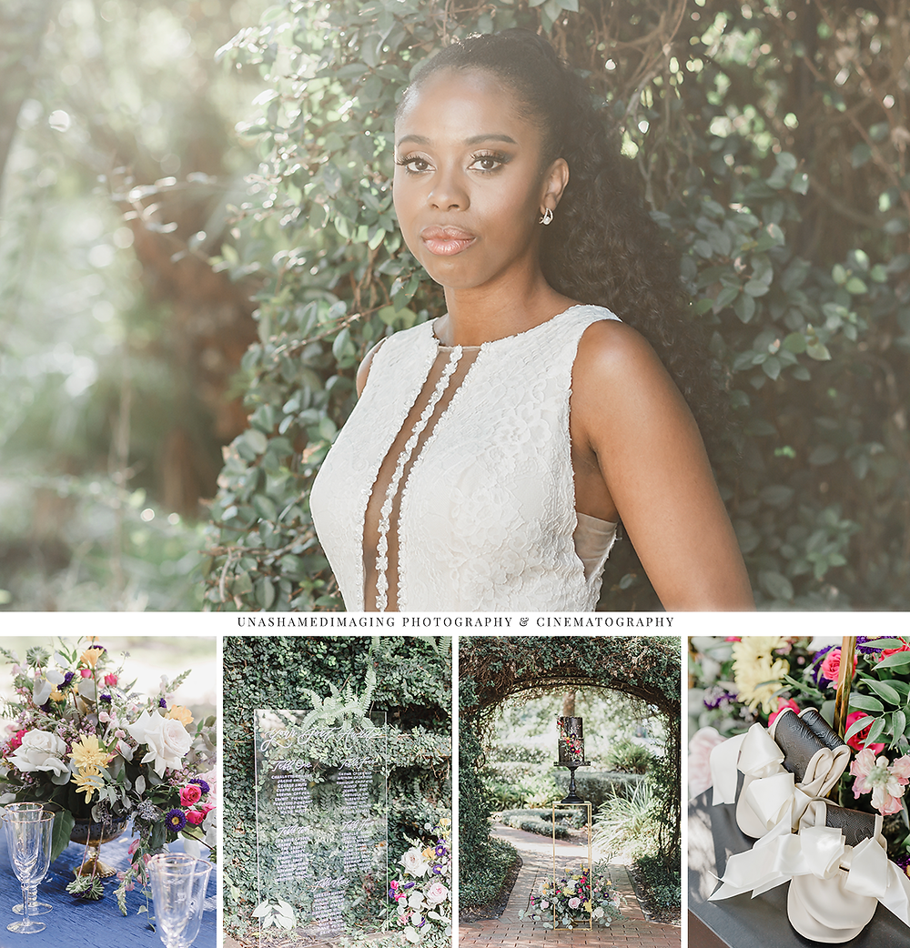 Black bride wearing wedding gown looking at the camera while outdoors, Unashamed Imaging