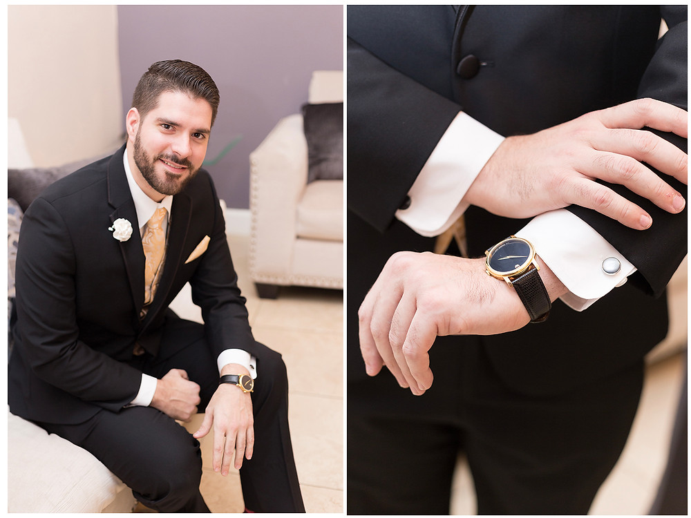 Groom in black suit with movado watch.