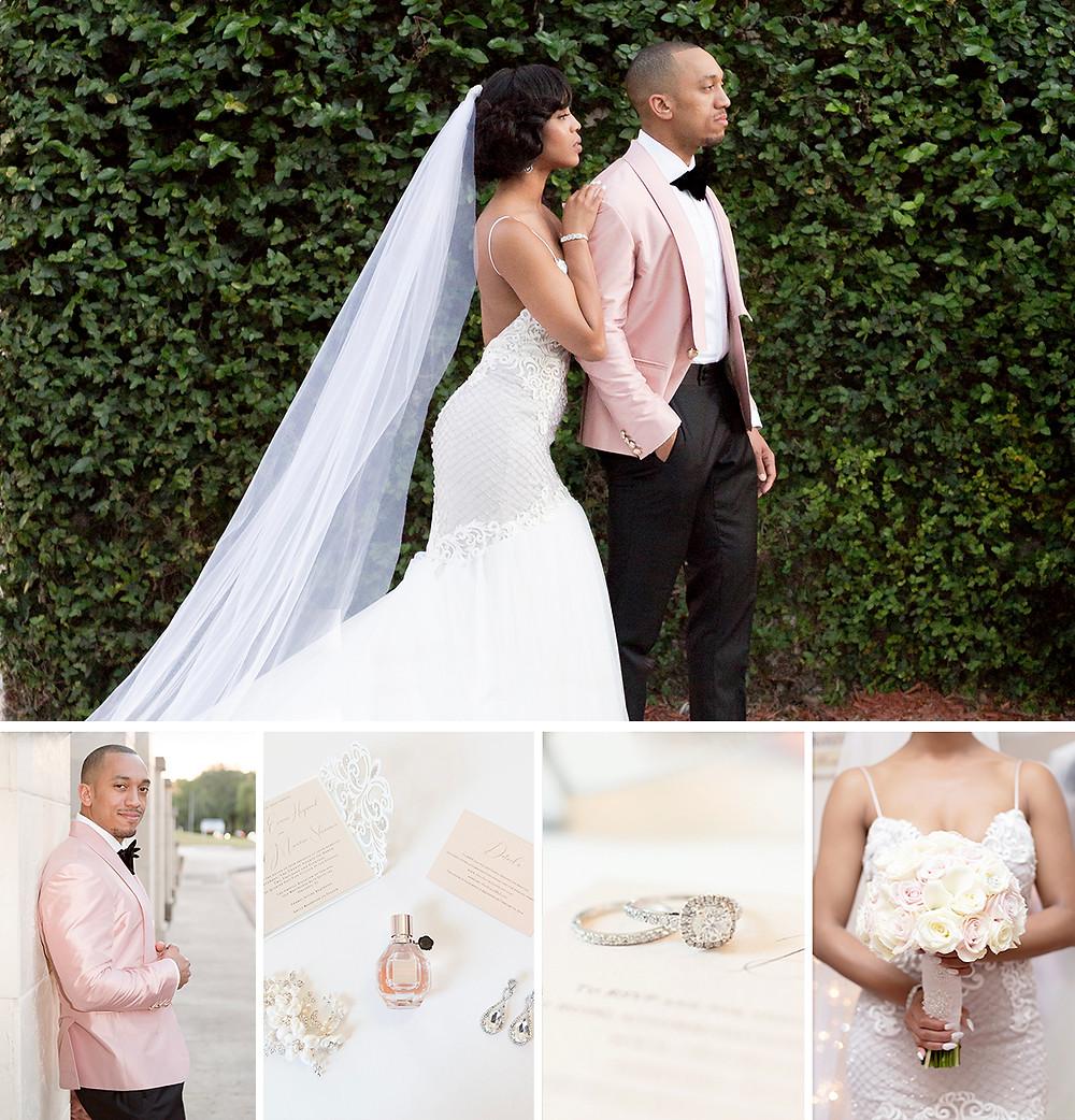 Crystal Ballroom at Veranda Wedding: Jacqueline & Paul, Unashamed Imaging. Bride in gown with groom by hedge wall.