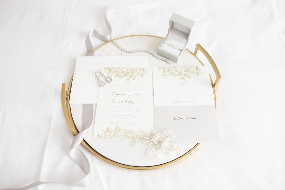 Tiffany & Co. Wedding: Lynette & David | Crystal Ballroom at Veranda | Orlando, Florida. Wedding invitations.