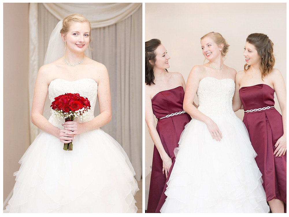 Bride with rose bouquet. Bridesmaids in deep rose dresses.