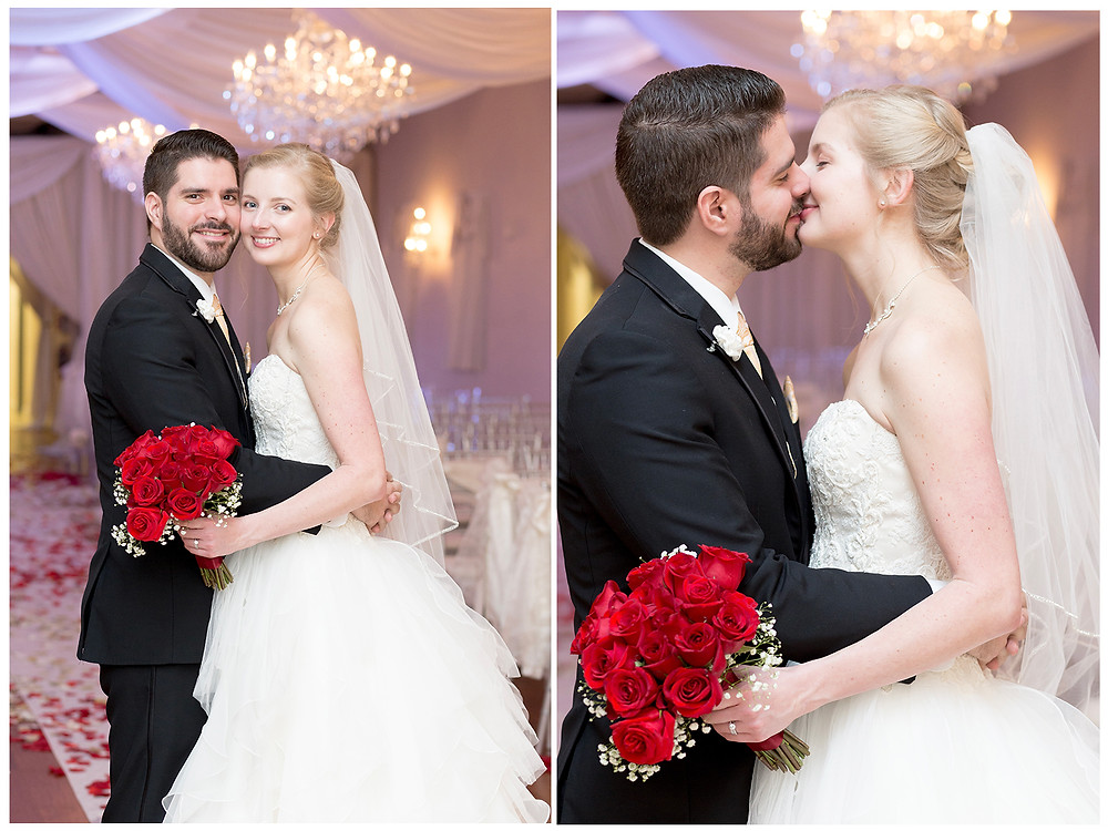 Groom in black suit with bride. rose bouquet. Orlando Florida. Solutions bridal. unashamed imaging.