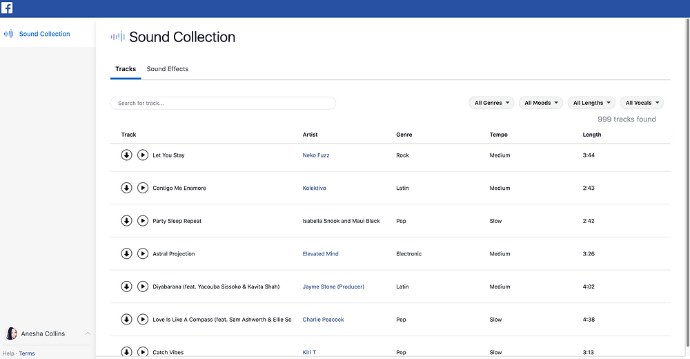 ocate Sound Collection under the Publishing Tool on your Facebook Business page.