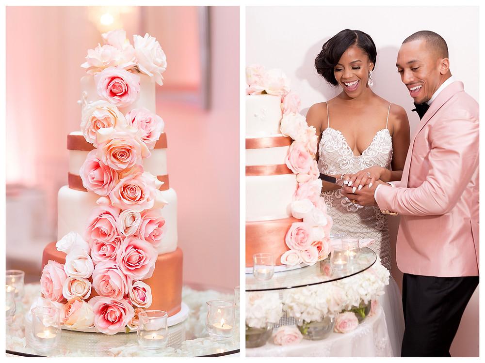 Couple cuts cake at wedding.