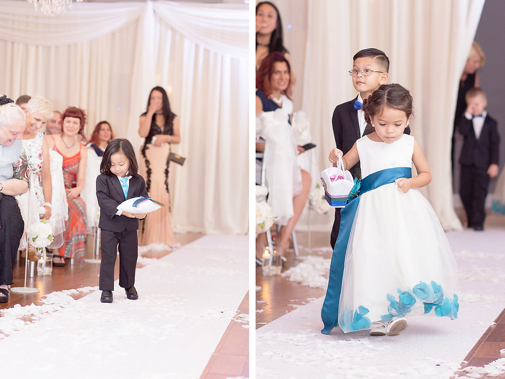 Ringbearer with pillow, flowergirl with blue dress. Wedding couple in orlando florida at crystal ballroom veranda.