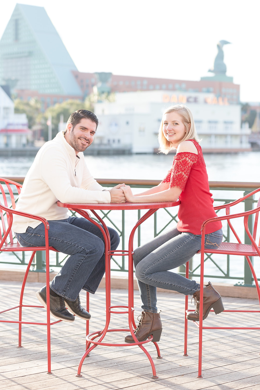 Orlando wedding photographer. Disney Boardwalk Engagement Session: Megan & Ryan