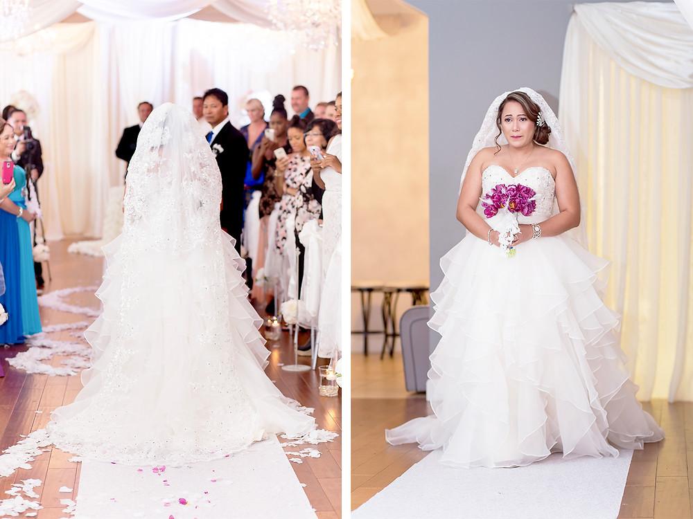 Long veil. Wedding couple in orlando florida at crystal ballroom veranda.