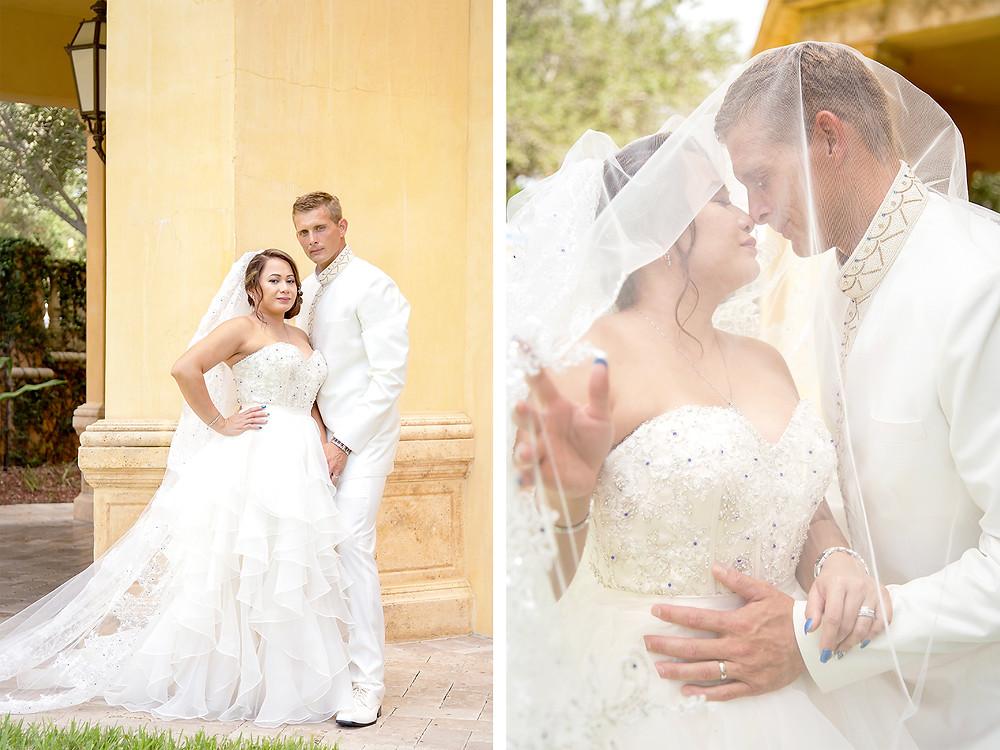 Wedding couple in orlando florida at crystal ballroom veranda.
