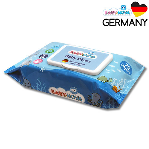 98% WATER WIPES, 72N, WITH PLASTIC LID