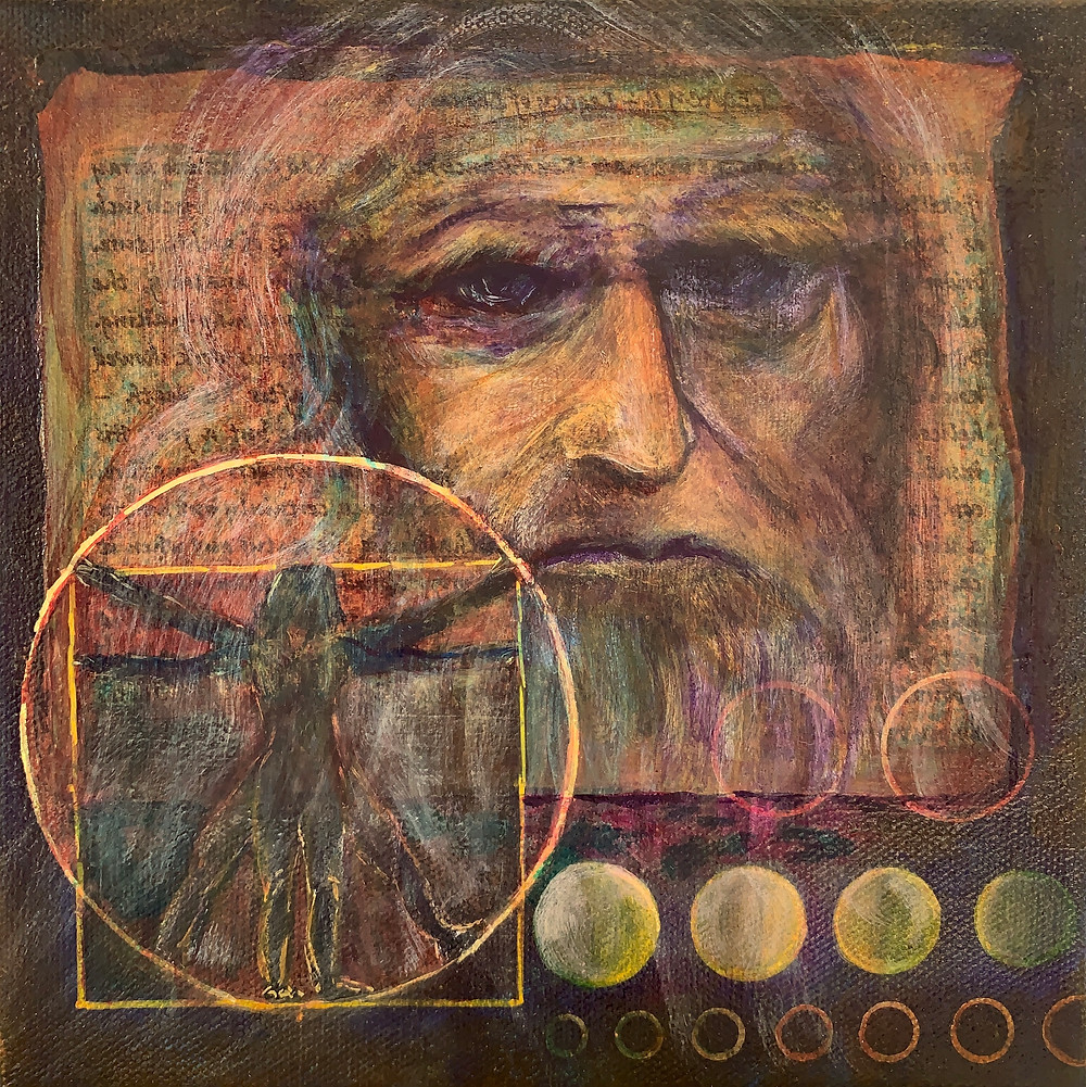 acrylic painting of Leonardo da Vinci