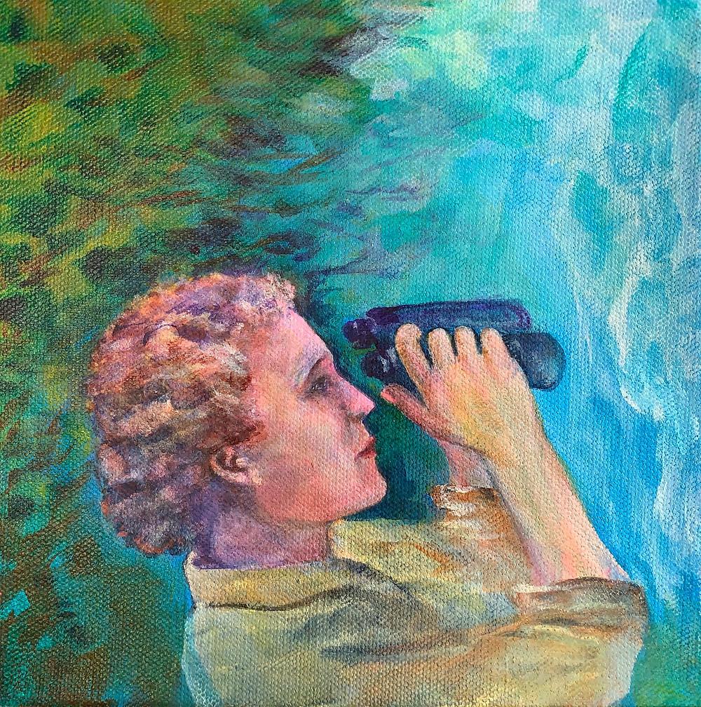 Acrylic painting of Rachel Carson holding binoculars