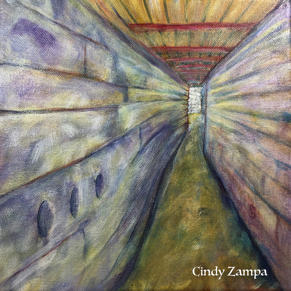 Acrylic painting of a tunnel that is part of the Atlantic Wall