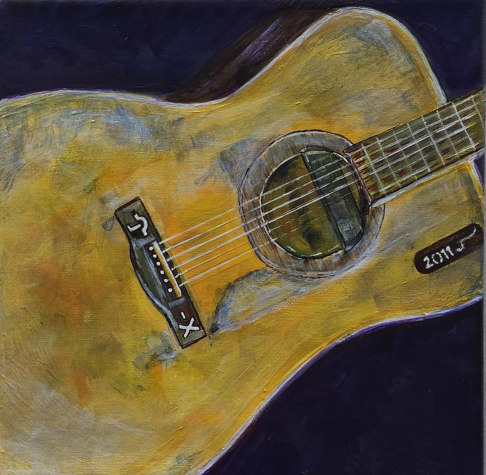 Acrylic painting of Corb Lund's guitar, 'Juanita'.