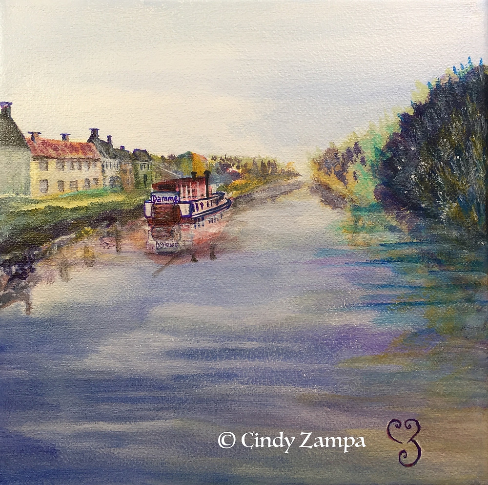 Acrylic painting of a paddleboat on canal in Damme, Belgium