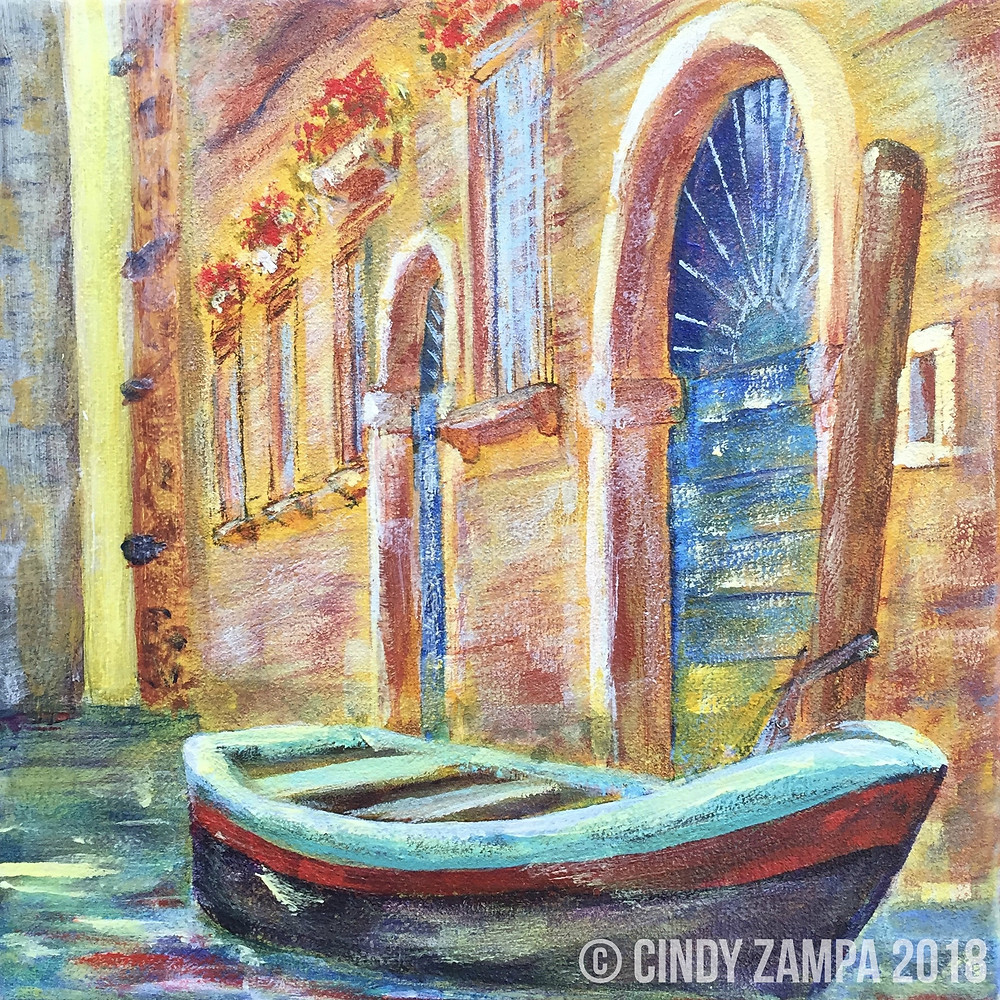 Week 2 in the Studio 52 project - Boat docked in a Venice canal