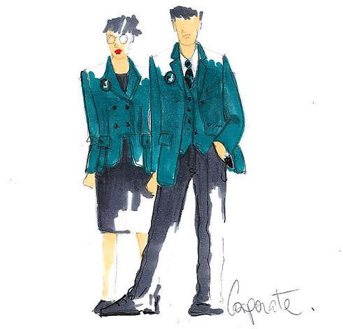 Green Corporate Wear Sketch
