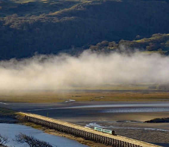 Train crossing Barmouth bridge