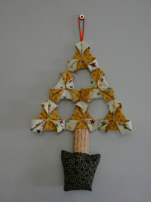 Medium Fabric 'Origami' Christmas Tree Wall Hanging - Yellow