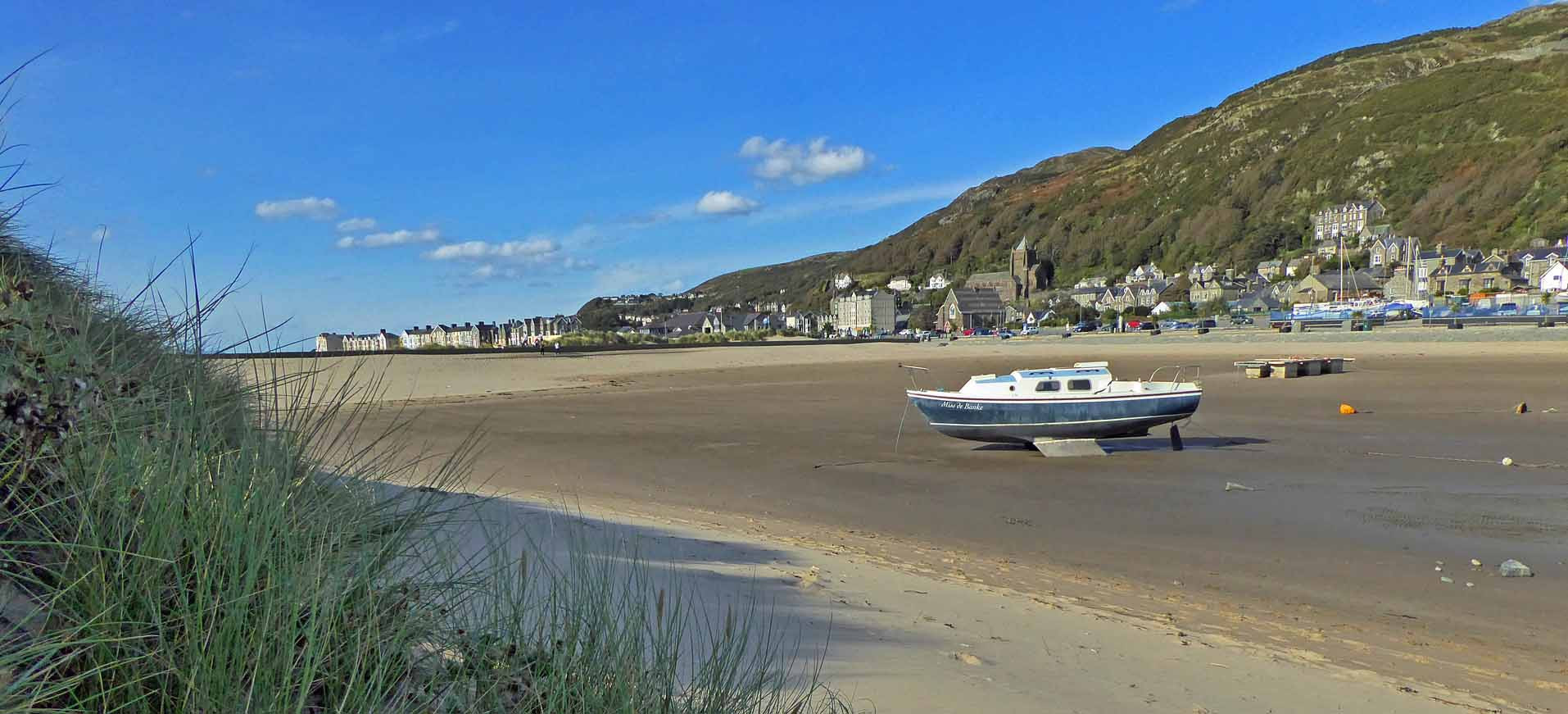 Barmouth inner harbour and promenade