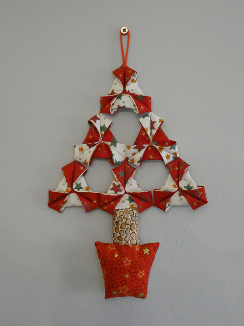 Medium Fabric 'Origami' Christmas Tree Wall Hanging - Red and White