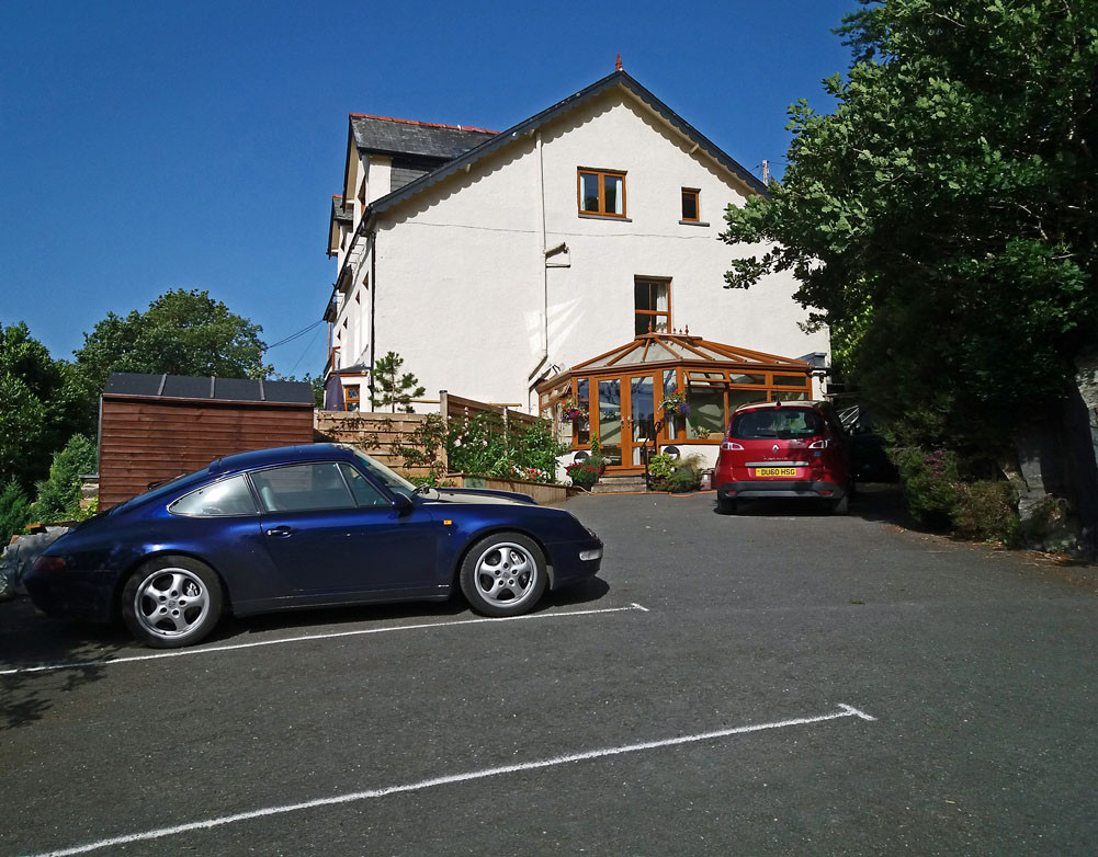 Car park and entrance to building