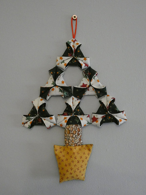 Medium Fabric 'Origami' Christmas Tree Wall Hanging - Green and White