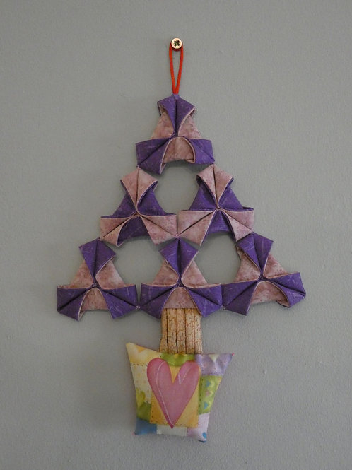 Medium Fabric 'Origami' Christmas Tree Wall Hanging - Purple with Heart Pot