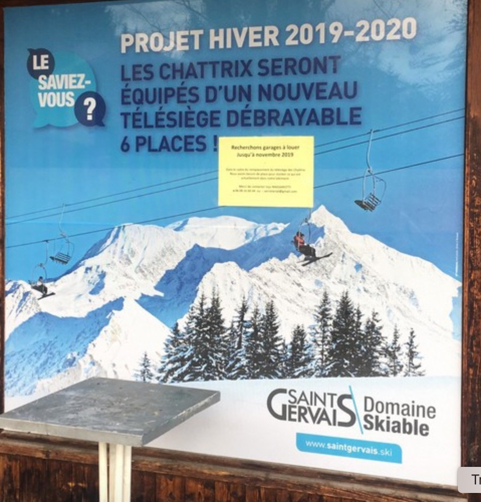 New chairlift where British Alpine Ski School Chamonix and Megeve operate