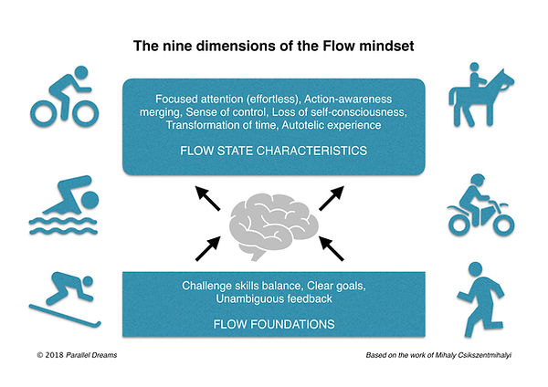 The nine demensions of the flow mindset.