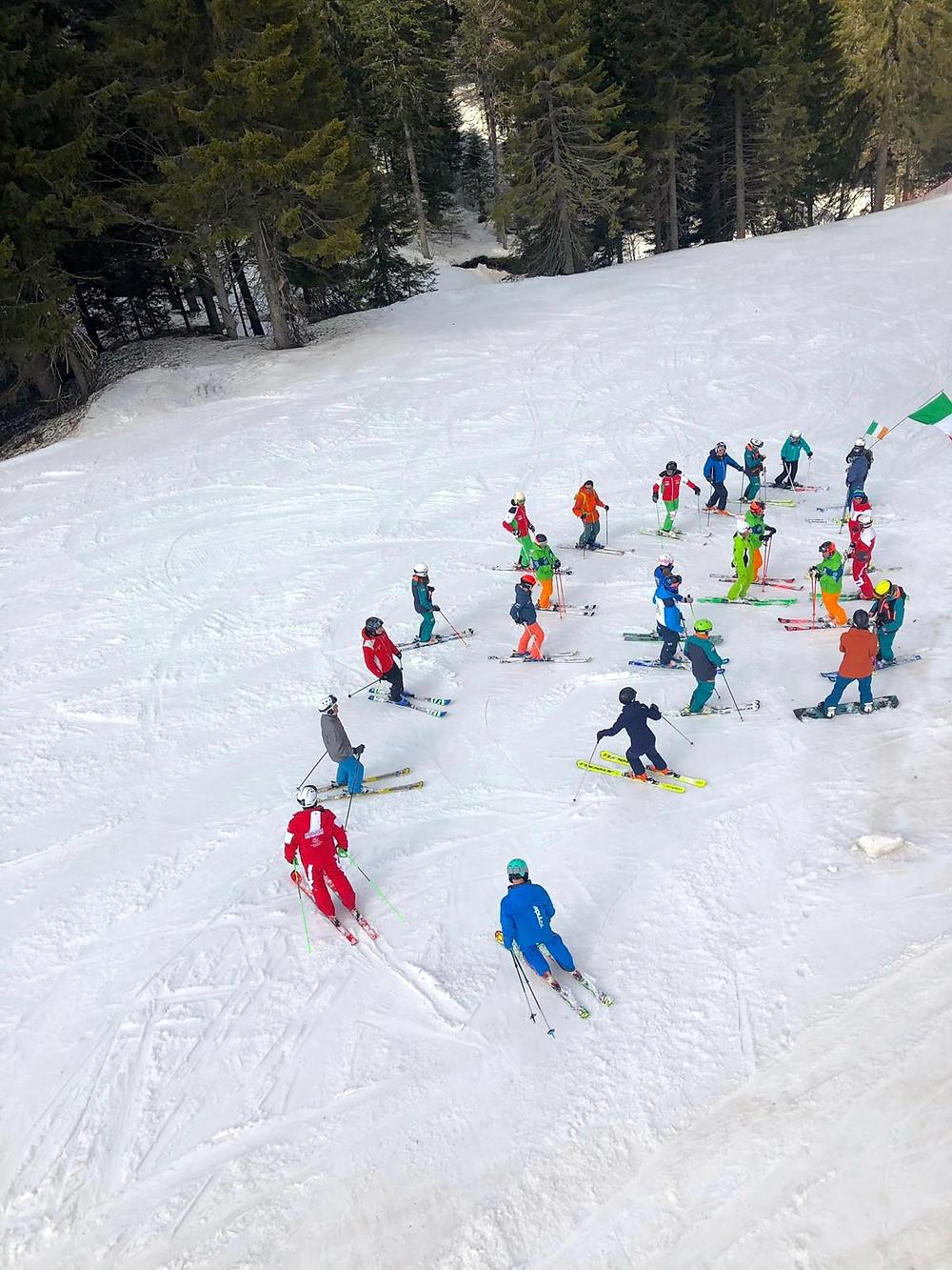 Ireland at Interski 2019 delivering their on-snow workshops