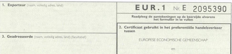 EUR.1 certificaat