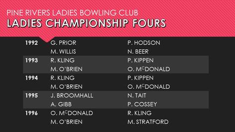 Ladies Championship Fours 1992-1994