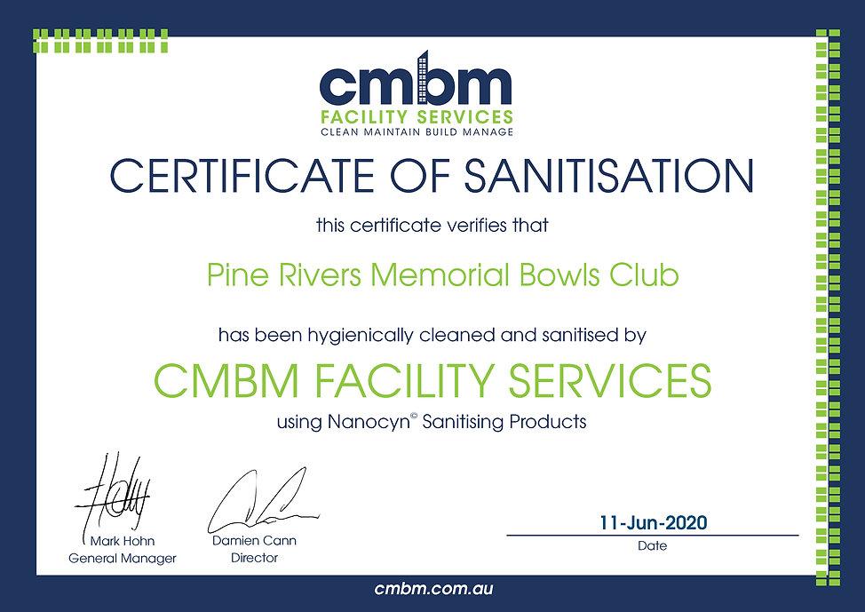 Certificate for Sanitisation- Pine River
