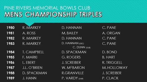 Mens Championship Triples 1980-1989