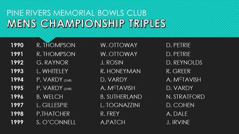 Mens Championship Triples 1990-1999