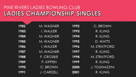 Ladies Championship Singles 1982-2001