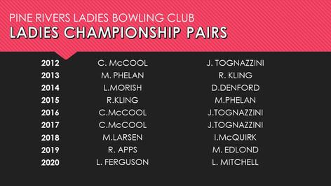 Ladies Championship Pairs 2012-2020