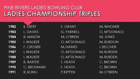 Ladies Championship Triples 1982-1991