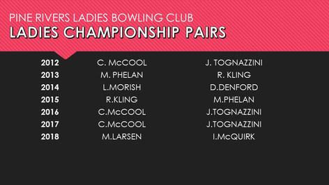 Ladies Championship Pairs 2012-2018