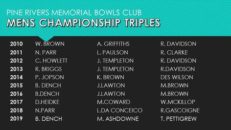 Mens Championship Triples 2010-2019