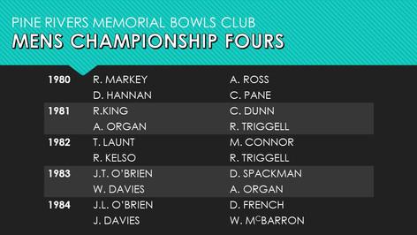 Mens Championship Fours 1980-1984