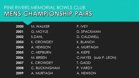 Mens Championship Pairs 2000-2009