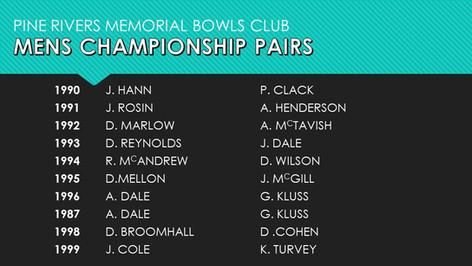 Mens Championship Pairs 1990-1999